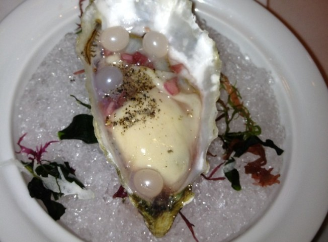 Fresh oyster prepared by Chef Eric Klein of Spago, Las Vegas